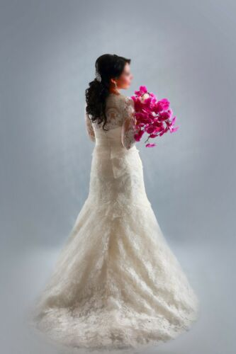 Lace Rivini wedding dress customized Swarovski Cr
