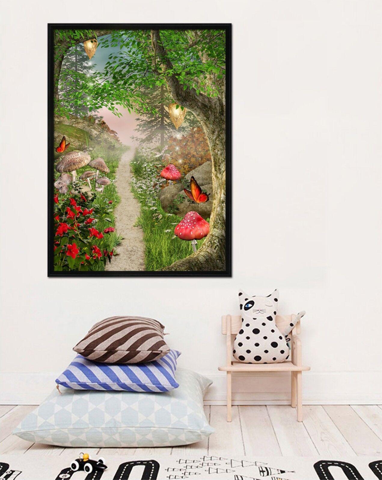 Bosque de hongos 3D 2 Póster Enmarcado Decoración del Hogar Pintura de Impresión Arte AJ Wallpaper