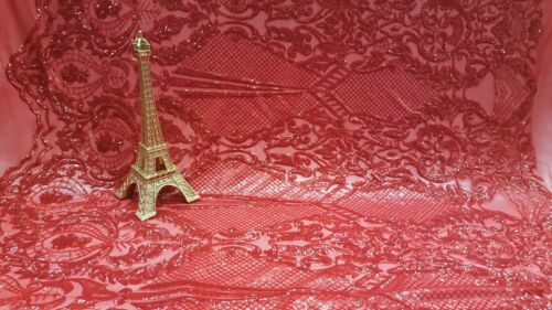 Red Lace Sequin On 4 Way Stretch Mesh Fabric By The Yard Fashion Damask Dress