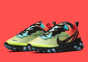 cbdd971b792f6 Details about 2019 NIKE REACT ELEMENT 87 AQ1090-700 Volt Aurora Green Racer  Pink Men's Shoe