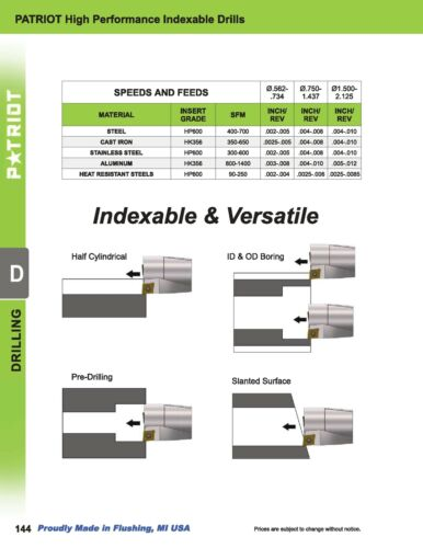 ".875/"" 10pcs PD1063306 HP600 PATRIOT Drill Inserts For PATRIOT Drills .734/"""