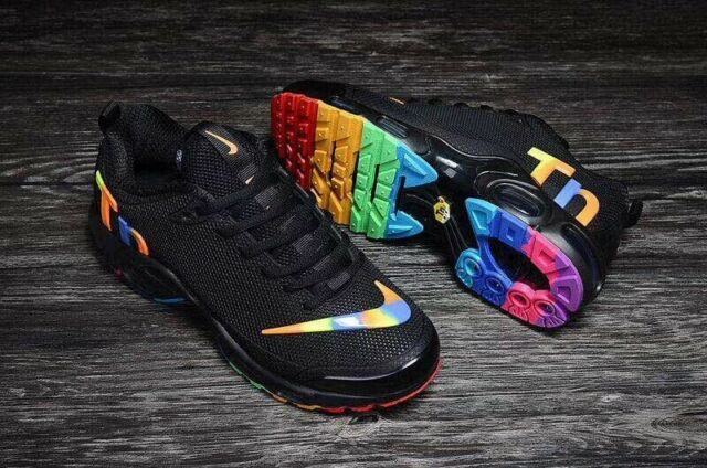 2018 Nike Air Max Plus TN Ultra Men's Running Trainer Shoes (Black + Rainbow)