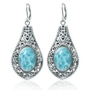 Sterling Silver Drop Earrings Oval Larimar Round Sky Blue Topaz Stones BTSNEA304