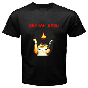 New Erykah Badu American Famous Singer Logo Mens Black T-Shirt Size S-3XL