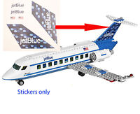 Lego City Custom Jet Blue Stickers For 3181 Passenger Plane Jetblue 3182