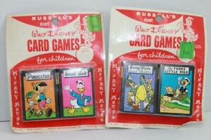 Disney-Card-Games-Russell-039-s-Vtg-Orig-SEALED-4-Sets-NRFP-Vol-1-2-and-5-6-Mickey