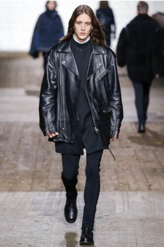 1,500 Runway Diesel Black Gold Biker patchwork leather jacket made in Italy afficher le titre d'origine