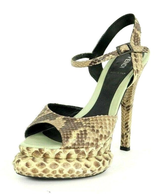 FENDI Natural Python Strappy Exaggerated Platform Heels Sandals 39