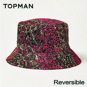Image is loading Topman-Snake-Print-Reversible-Bucket-Hat-Summer-Holiday- f0f7456fc0e