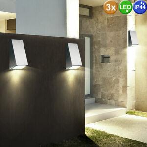 3 er Set LED Außen Wand Leuchten Edelstahl Strahler Veranda