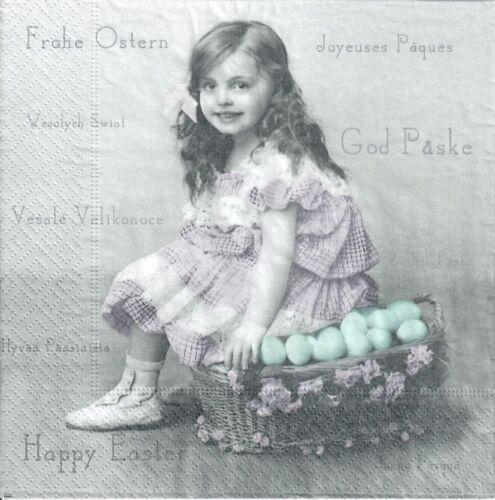 Easter design eggs- E41 Sagen vintage girl 4 Single paper decoupage napkins