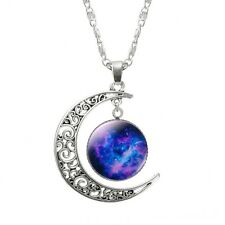 Vintage Silver Plated Blue Galaxy In Curve Moon Pendant Collar Necklace Chain