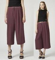 TOPSHOP TALL Burgundy Crepe Culottes Trousers Shorts FREE P&P Size 8 to 16