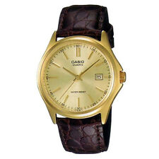 New Casio MTP-1183Q-9A Men's Gold Analog Brown Genuine Leather Band Watch