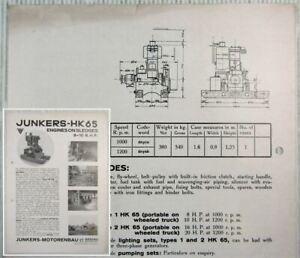 Brochure Junkers HK65 1HK65 Engines on Sledges 8-10 BHP Datasheet 1930s