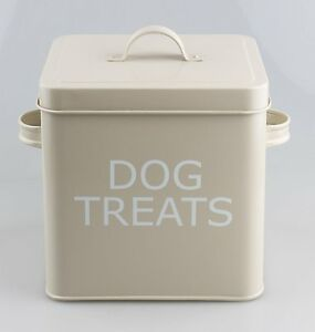VINTAGE-STYLE-DOG-TREAT-TIN-STORAGE-BOX-IN-OLIVE-FOR-DRY-FOOD-TREATS-ETC