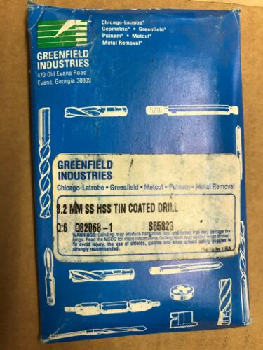 8.2 MM SS HSS TIN COATED DRILL S65823 GREENFIELD INDUSTRIES 6 PER CASE