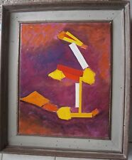 Composition in Reds, Yellow, & White Abstract Oil Painting-60s-I.L. Winarsky