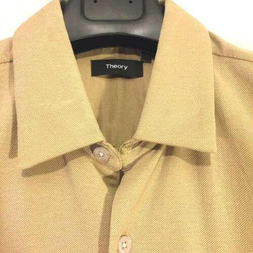 THEORY Mens Air Pique Knit Button Front Short Sleeve Shirt Beige MSRP $125