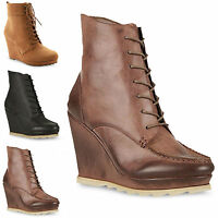 WOMENS LADIES HIGH HEEL WEDGE PLATFORM NEW LACE UP ZIP ANKLE BOOTIES BOOTS SIZE