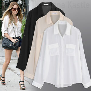 5bf896c82 Image is loading Annakastle-Womens-Semi-Sheer-Chiffon-Button-Down-Pocket-
