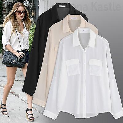 b29c227e06657 Annakastle Womens Semi-Sheer Chiffon Button-Down Pocket Utility Shirt  Blouse S-M