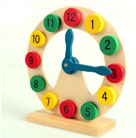 Montessori game colorful wooden toy wood clock digital cognitive time gift 1pc