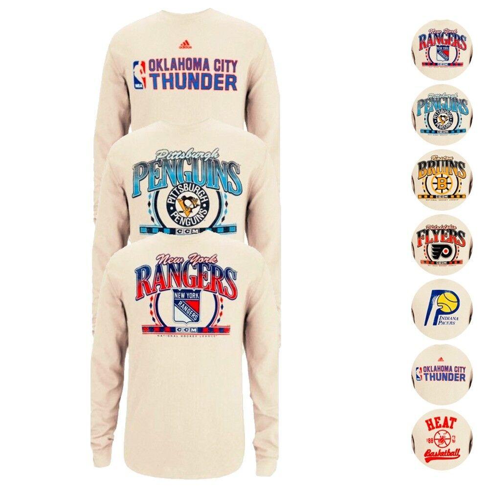 NBA & amp;Assortiment de maillot thermique en ivoire à manches longues Adidas Originals de la LNH pour hommes