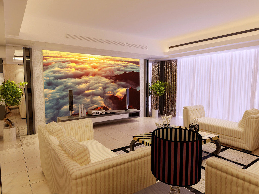3D Sunrise Clouds Sea 3 Wall Paper Wall Print Decal Wall Deco Wall Indoor Murals