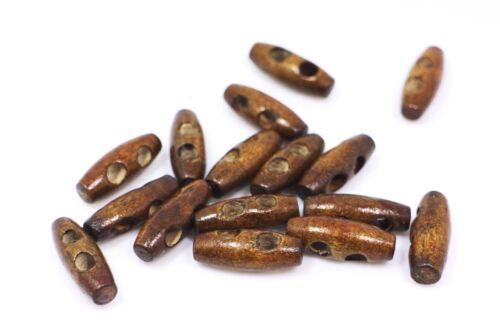 Mini Dark Brown Oval Wooden Toggle Button Small Duffel Duffle Coat 25mm 20pcs