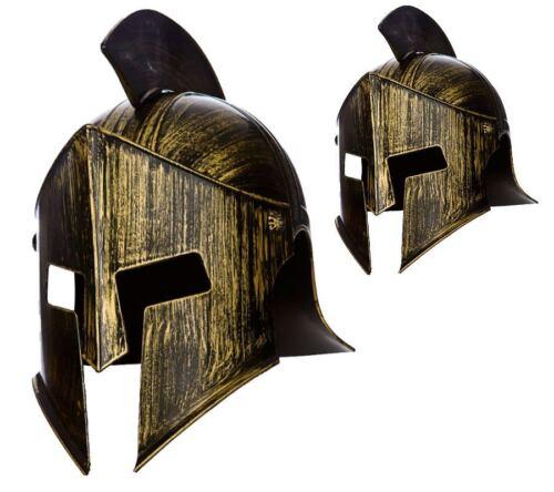 Spartano Gladiatore Romano Centurione CASCO Bronzo Plastica Costume Cappello