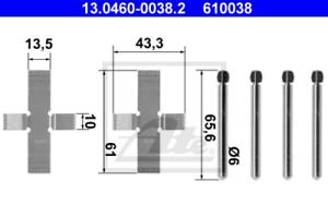 Scheibenbremsbelag für Bremsanlage Vorderachse ATE 13.0460-0038.2 Zubehörsatz