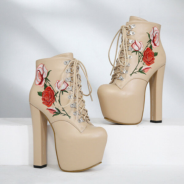 botas bajo Zapatos Flores Beis Plataforma 14.5 cm Piel Sintético 9739