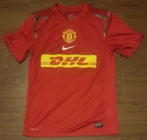 best sneakers 56020 b48be Nike Dri Fit Manchester United DHL Red Soccer Jersey Shirt ...