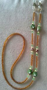 !! FROG FROGS LOVER BEADED CRYSTAL !!! EYEGLASS CHAIN !