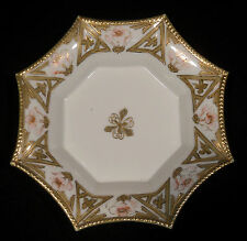 8 in Nippon eight sided spider web hand painted dish pink flowers gold trim