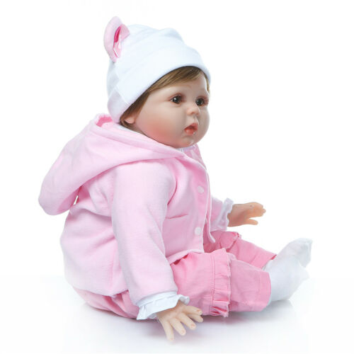 Reborn Silicone Baby Dolls Toys Cute Real Life Newborn Bebe with Bear Outfit 22/""