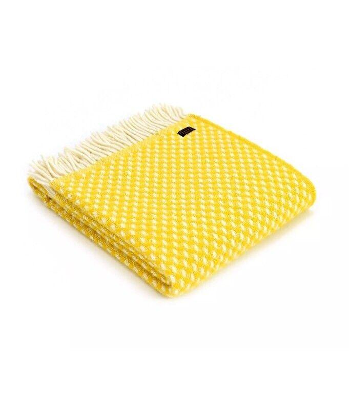 Tweedmill Textiles Sarga Amarillo Mostaza, 100% lana pura Manta Alfombra británico