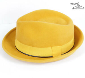 3708d1e725b8d NWT Barbisio Ordine For Jay Kos Yellow Fur Felt Fedora Hat Sz. EU 59 ...