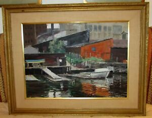Peter Hayward Oil Painting On Canvas Green St Boat Club Marina NJ Scene 39 x 31