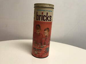 American-Plastic-Bricks-Set-703-Vintage-Toy-Halsam-Playskool-86-Pieces
