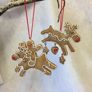 Details About 2 Rudolph Reindeer Christmas Tree Gingerbread Decorations Gisela Graham Biscuit