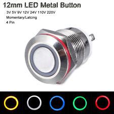 12v 24v 110v 220v Push Onoff Metal Button Switch 12mm Led Momentarylatching