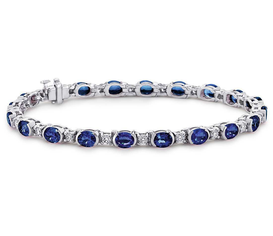 15ct Oval Cut bluee Sapphire Diamond Elegant Tennis Bracelet 14k White gold Over