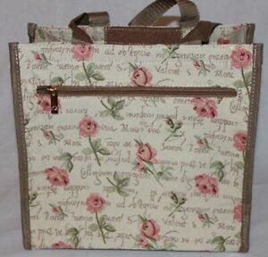 City-Shopper-Rote-Rosen-Blumen-Gobelin-Einkaufstasche-Beutel-Tapestry