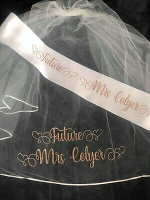 Capace Personalised Veil, Personalised Sash Hen Party Veil, Bride To Be