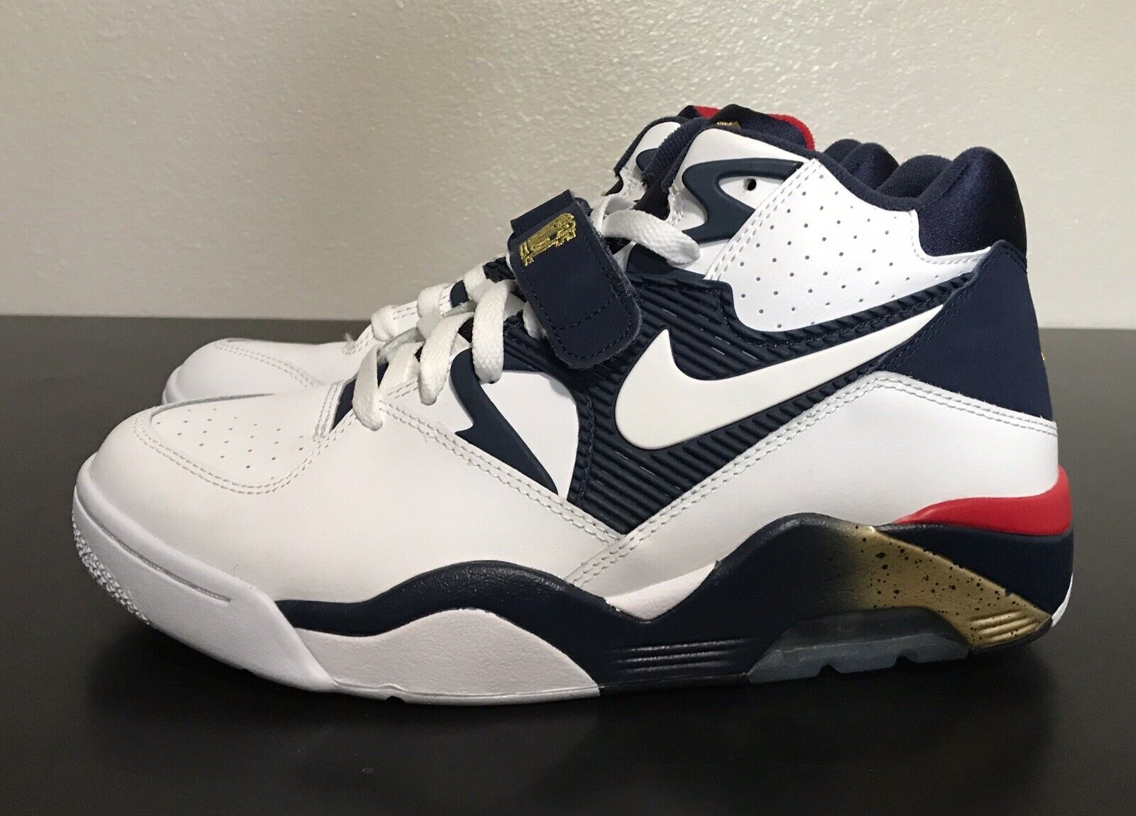 Nike Air Force 180 Olympic Team White Navy Red Gold Sz 9.5 Charles Barkley NEW!!
