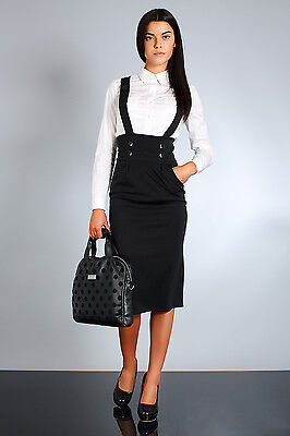 High Waist Elegant & Trendy Skirt with Buttons Braces Sizes UK 8-18 FA37