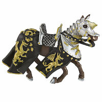 Horse With Black Robe And Gold Dragon Figure Safari Toys Fantasy Figures