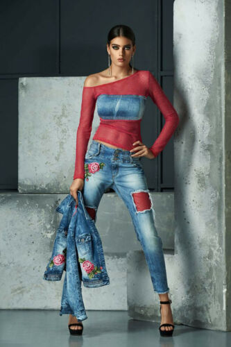 By Alina Jeans 2-Teiler Jeansjacke Jacke Röhrenjeans Hüftjeans Blau Pink XS-S